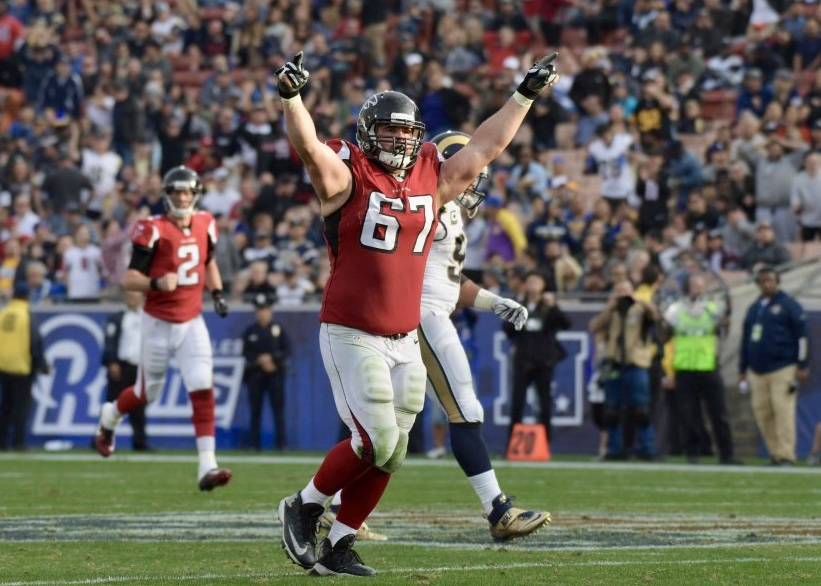 Dec 11, 2016; Los Angeles, CA, USA; Atlanta Falcons guard Andy Levitre (67) celebrates after a Falcons touchdown against the Los Angeles Rams during a NFL football game at Los Angeles Memorial Coliseum.  The Falcons defeated the Rams 42-14. Mandatory Credit: Kirby Lee-USA TODAY Sports